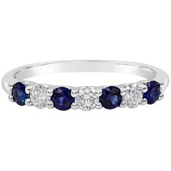 Alternating Blue Sapphire and Diamond Seven-Stone Wedding Band