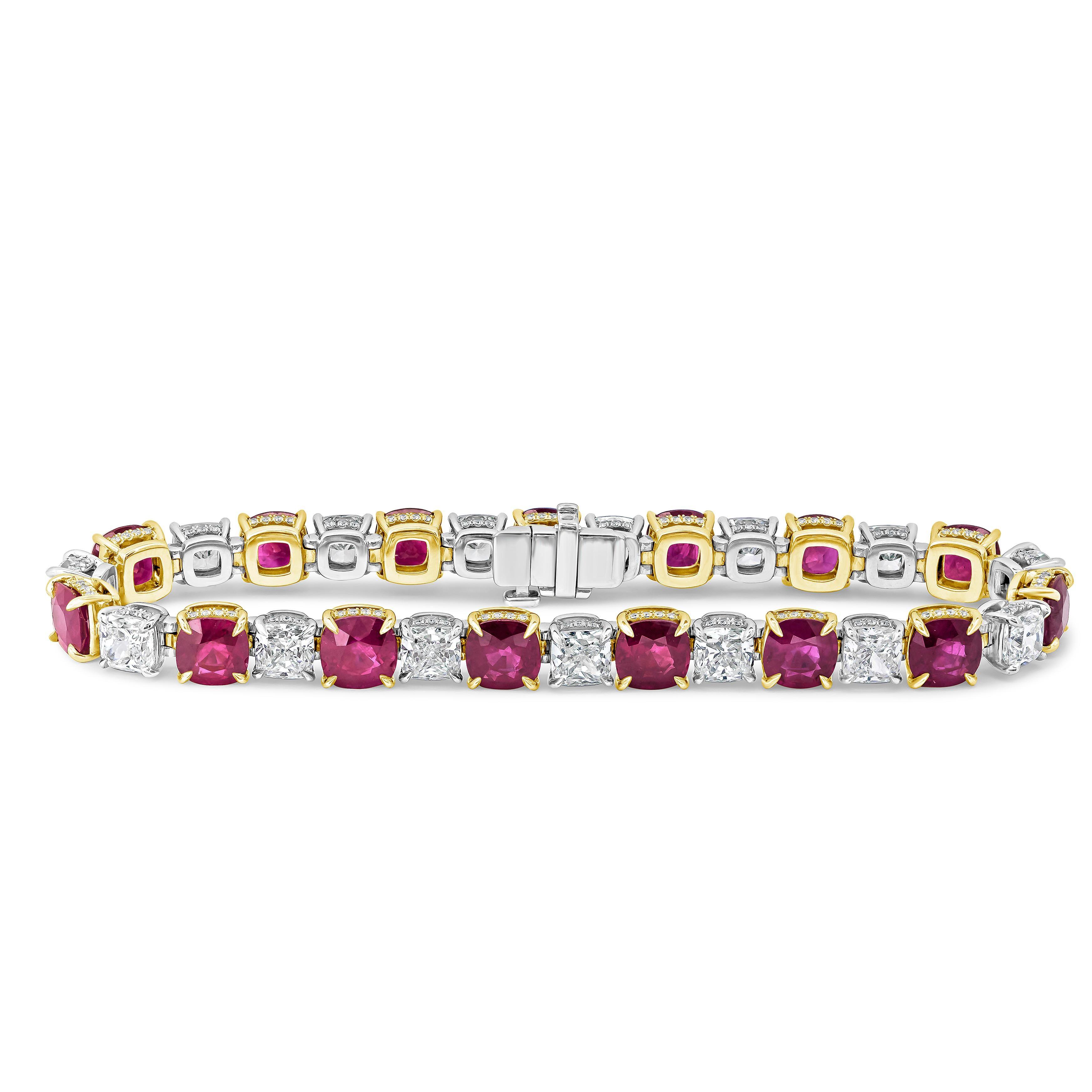 Roman Malakov Alternating Cushion Cut Burmese Ruby and Diamond Tennis Bracelet
