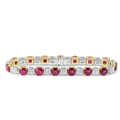Alternating Cushion Cut Burmese Ruby and Diamond Tennis Bracelet