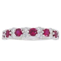 Alternating Diamond and Ruby Ring