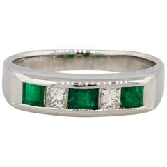 Alternating Diamond & Emerald Five Stone Band Platinum in Stock