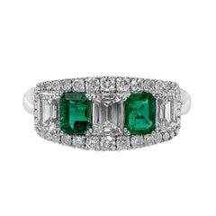 Alternating Emerald and Diamond Five-Stone Halo Ring