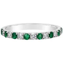 Alternating Emerald and Diamond Half-Way Wedding Band