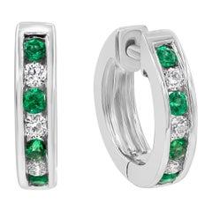 Alternating Emerald and Diamond Hoop Earrings