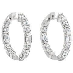 Alternating Emerald Cut and Round Diamond Hoop Earrings