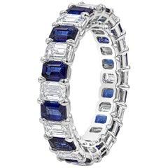 Alternating Emerald Cut Blue Sapphire and Diamond Eternity Wedding Band
