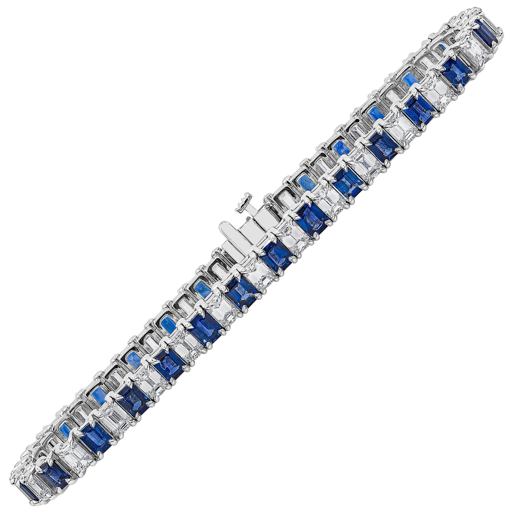 Alternating Emerald Cut Blue Sapphire and Diamond Tennis Bracelet
