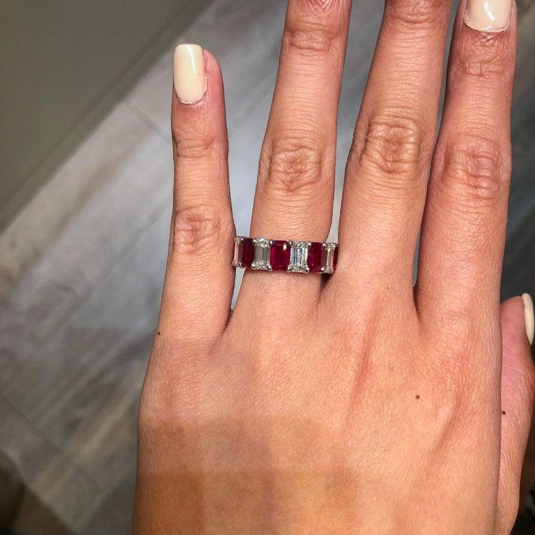 Modern Alternating Emerald Cut Ruby and Diamond Eternity Wedding Band For Sale
