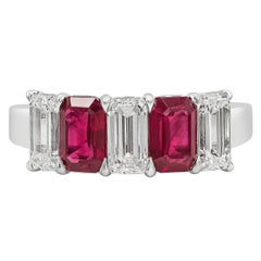 Alternating Emerald Cut Ruby and Diamond Five-Stone Ring