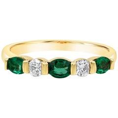 Alternating Green Emerald and Diamond Five-Stone Ring