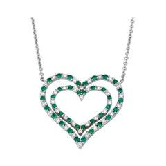 Alternating Green Emerald and Diamond Heart Pendant Necklace