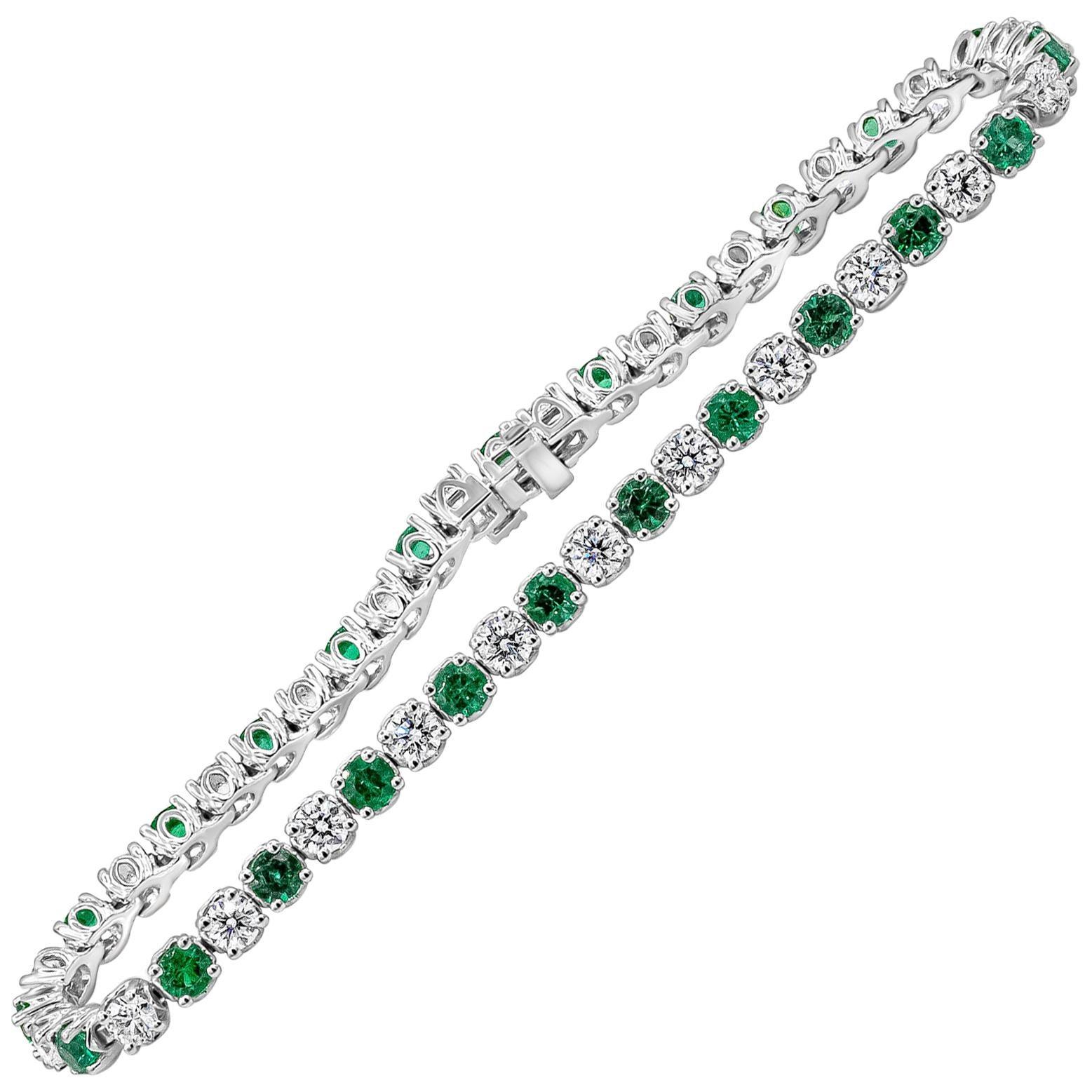 Roman Malakov Alternating Green Emerald and Diamond Tennis Bracelet