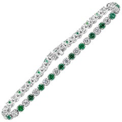 Roman Malakov Alternating Green Emerald and Diamond Tennis Bracelet