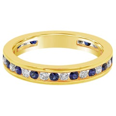 Alternating Natural Sapphire and Diamond Eternity Wedding Band Ring