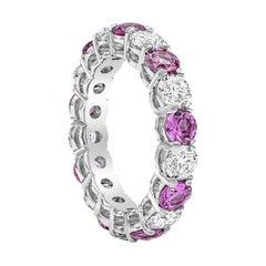 Alternating Pink Sapphire and Diamond Eternity Wedding Band