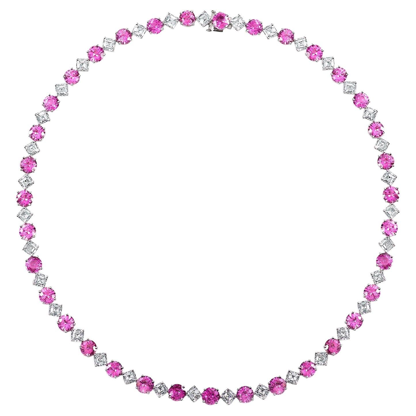 Alternating Purple-Pink Sapphire and Diamond Line Necklace in Platinum