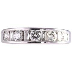 Alternating Round and Baguette Diamond Band .72 Carat VS1-SI2; H-K 14 Karat Gold