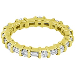 Alternating Round and Baguette Diamond Eternity Wedding Band