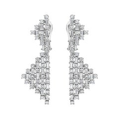 Alternating Round and Baguette Diamond Geometric Shape Drop Earrings