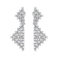 Roman Malakov Alternating Round & Baguette Diamond Geometric Shape Drop Earrings