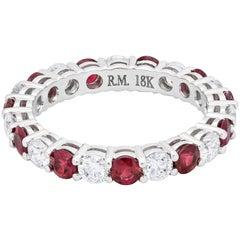 Alternating Ruby and Diamond Eternity Wedding Band