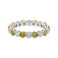 Alternating Vivid Yellow and White Diamond Eternity Wedding Band