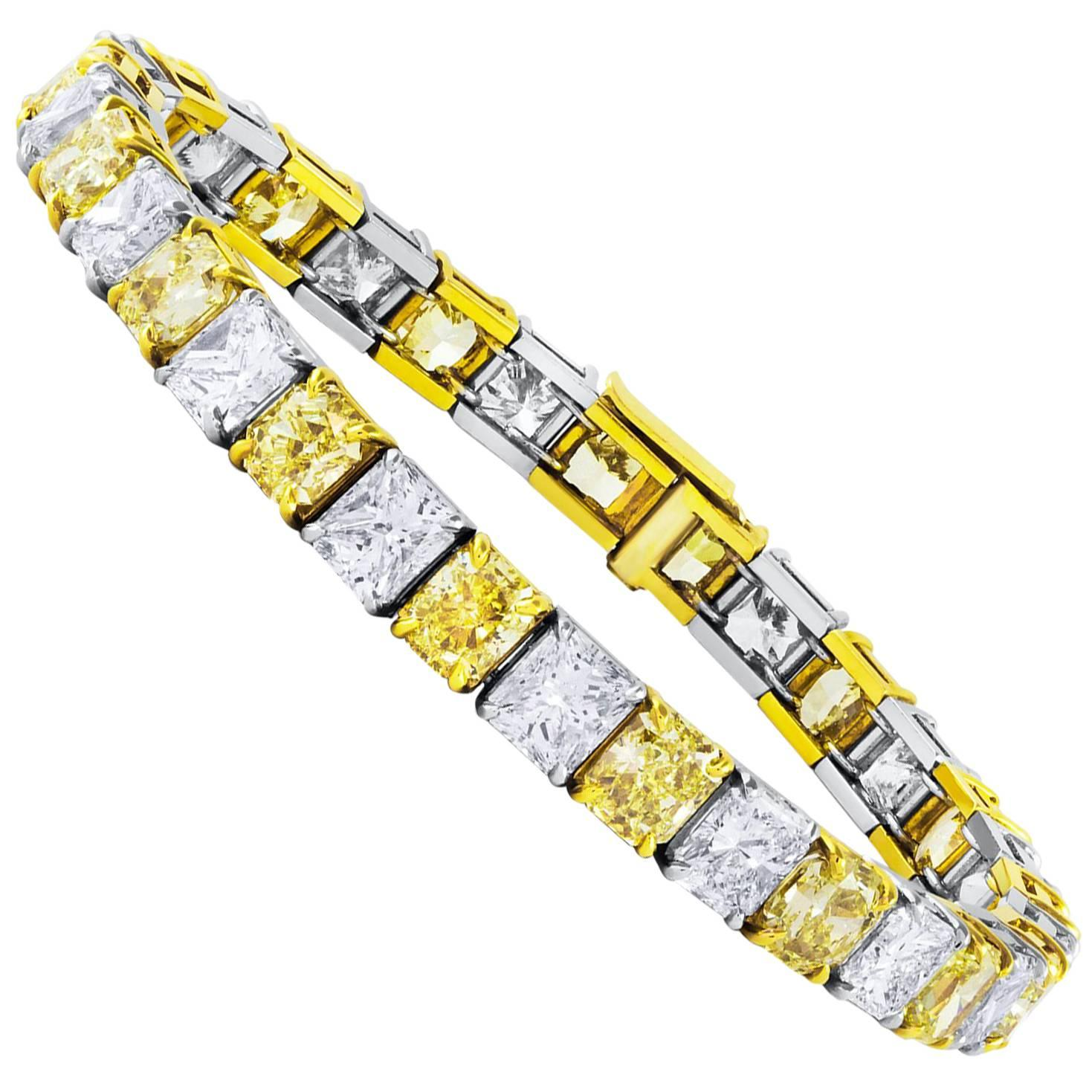 Roman Malakov Alternating Yellow and White Diamond Tennis Bracelet