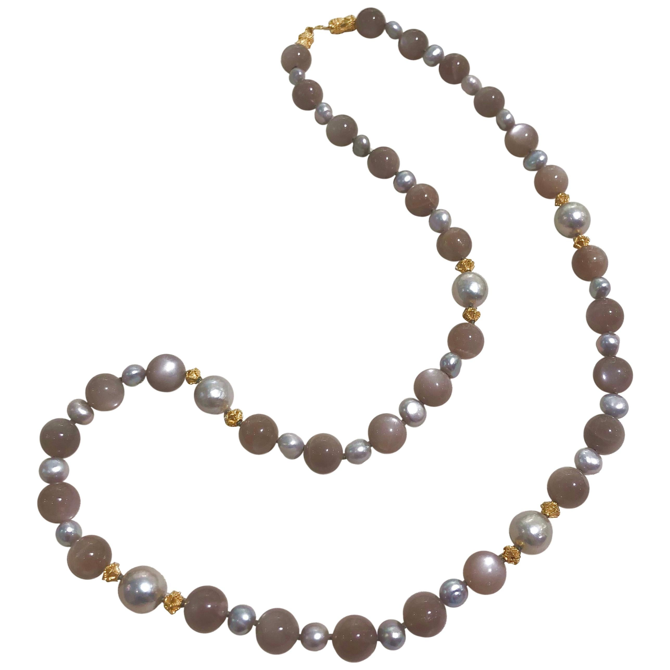 Grey Moonstone, Freshwater Pearl and Gold Bead Necklace