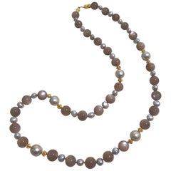 Altfield Grey Moonstone, Freshwater Pearl and Gold Bead Necklace