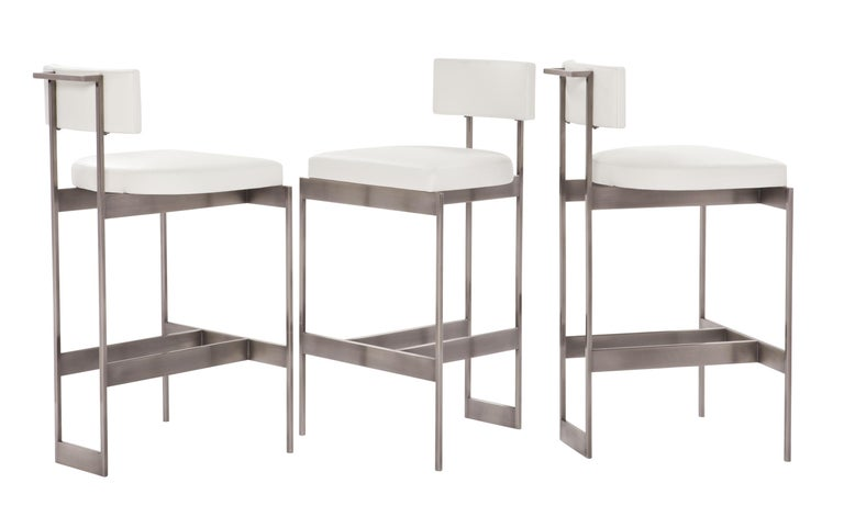 Alto Bar Stool In White Leather With Satin Nickel Finish