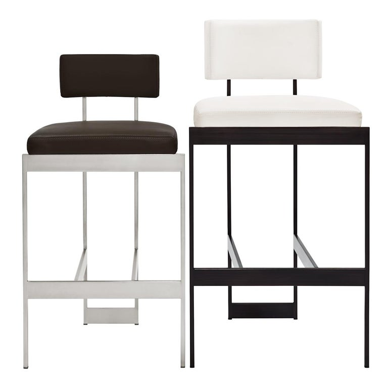 Alto Bar Stool in White Leather with Satin Nickel Finish by Powell & Bonnell For Sale 4