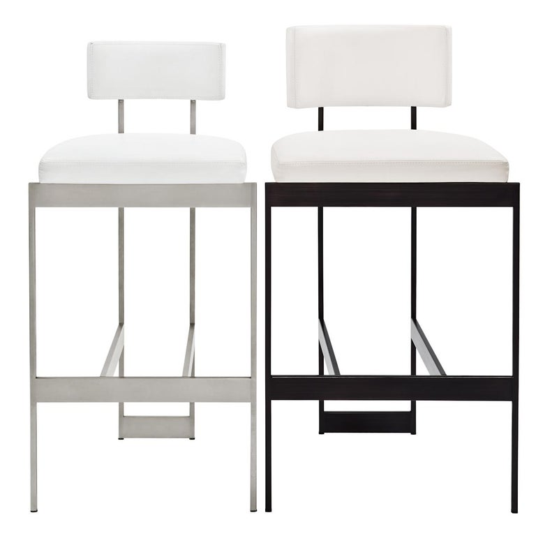 Alto Bar Stool in White Leather with Satin Nickel Finish by Powell & Bonnell For Sale 5