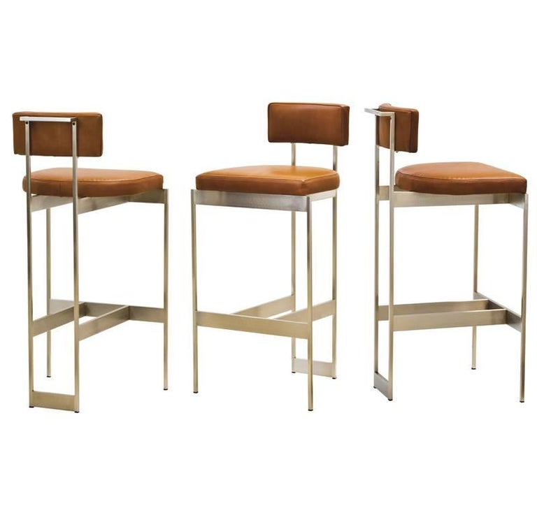 Alto Bar Stool in White Leather with Satin Nickel Finish by Powell & Bonnell For Sale 6
