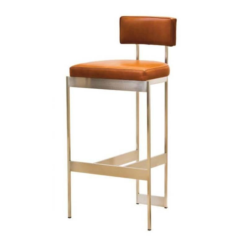 Alto Bar Stool in White Leather with Satin Nickel Finish by Powell & Bonnell For Sale 7