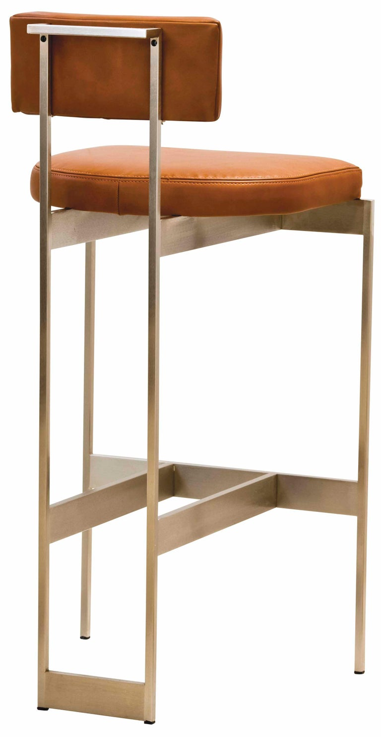 Alto Bar Stool in White Leather with Satin Nickel Finish by Powell & Bonnell For Sale 8