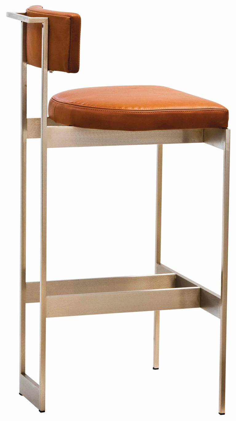 Alto Bar Stool in White Leather with Satin Nickel Finish by Powell & Bonnell For Sale 9
