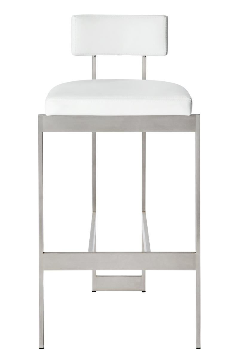 Alto Bar Stool In White Leather With Satin Nickel Finish By Powell U0026 Bonnell