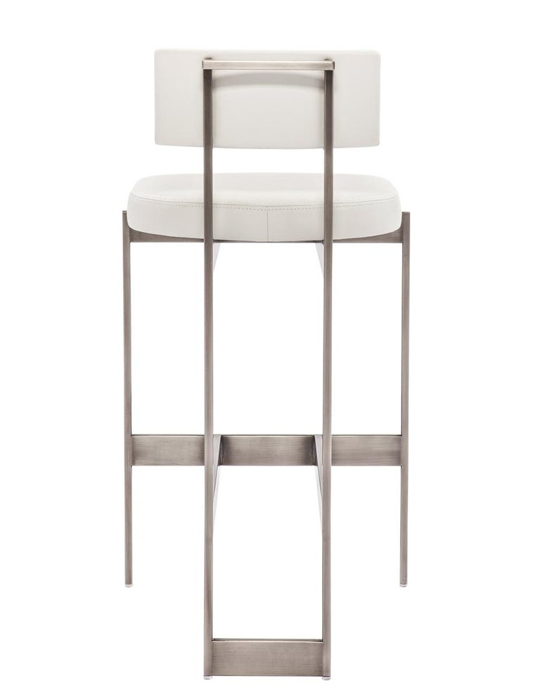 Modern Alto Bar Stool in White Leather with Satin Nickel Finish by Powell & Bonnell For Sale