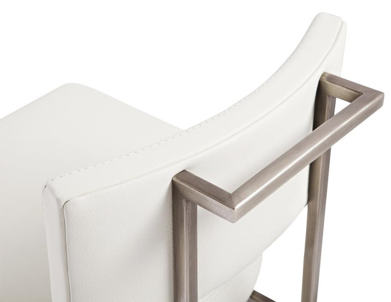 Canadian Alto Bar Stool in White Leather with Satin Nickel Finish by Powell & Bonnell For Sale