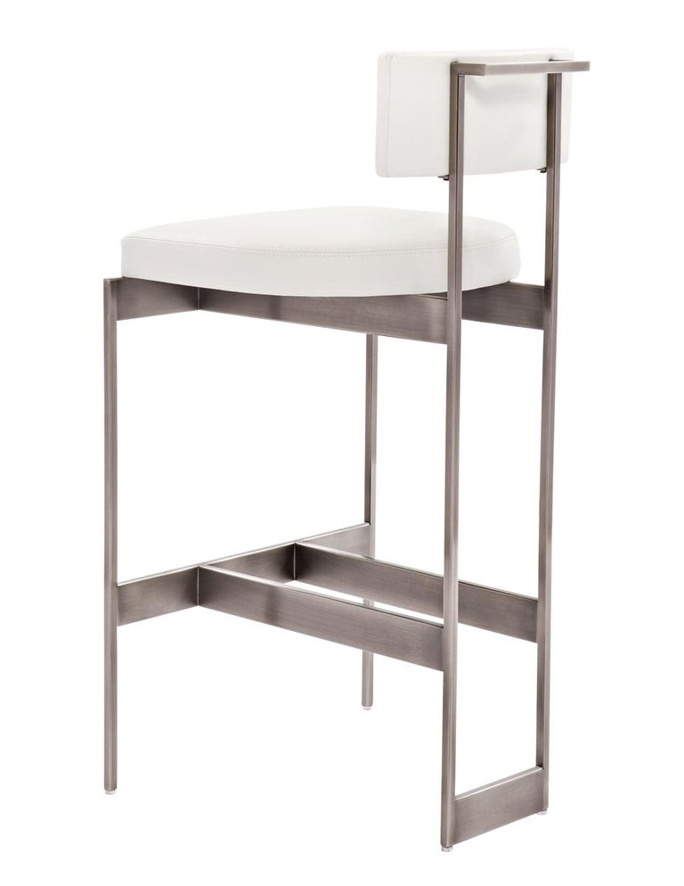 Plated Alto Bar Stool in White Leather with Satin Nickel Finish by Powell & Bonnell For Sale