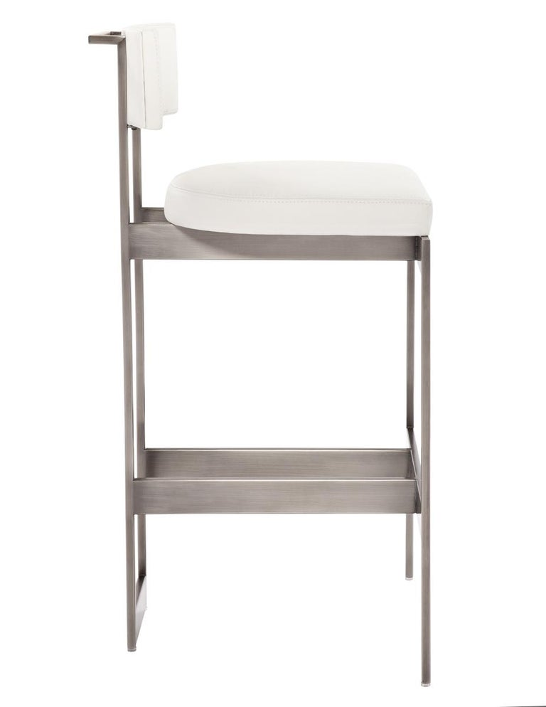 Alto Bar Stool in White Leather with Satin Nickel Finish by Powell & Bonnell In Excellent Condition For Sale In New York, NY