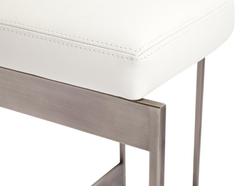 Contemporary Alto Bar Stool in White Leather with Satin Nickel Finish by Powell & Bonnell For Sale
