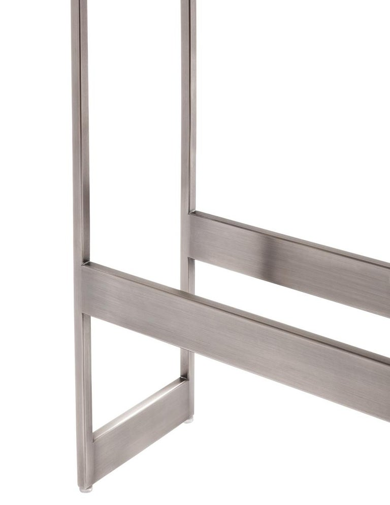 Steel Alto Bar Stool in White Leather with Satin Nickel Finish by Powell & Bonnell For Sale