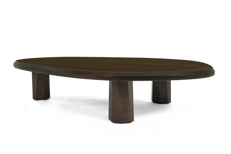 American Alto Coffee Table Solid walnut, shaped with 3 legs For Sale