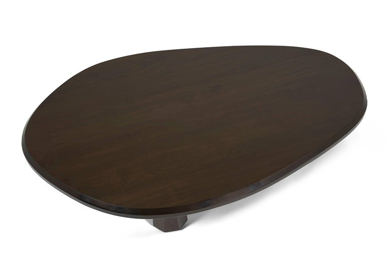 Alto Coffee Table Solid walnut, shaped with 3 legs In New Condition For Sale In Brooklyn, NY