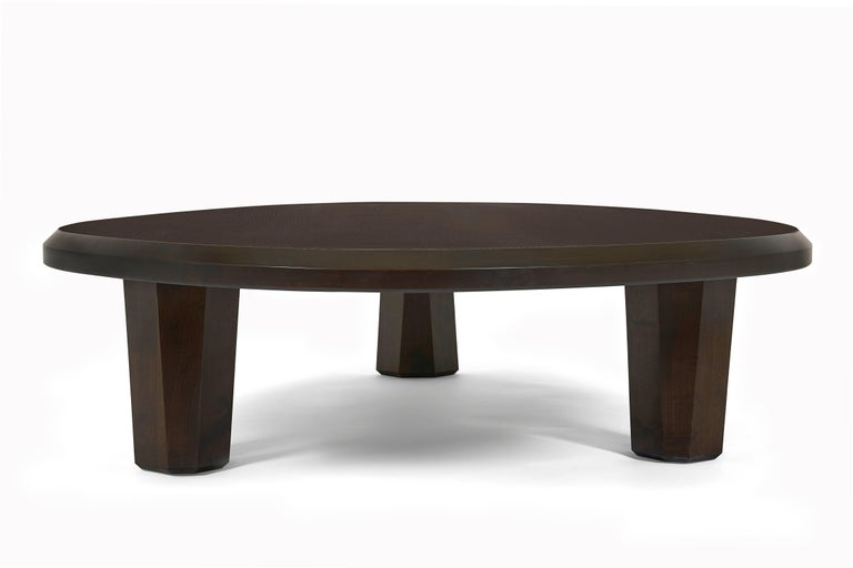 Contemporary Alto Coffee Table Solid walnut, shaped with 3 legs For Sale