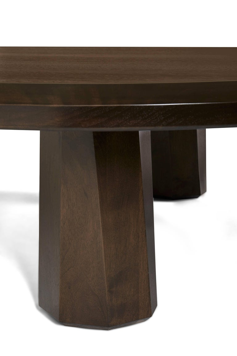 Alto Coffee Table Solid walnut, shaped with 3 legs For Sale 2