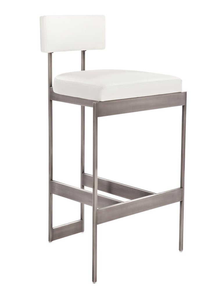 Alto Counter Stool In Tan Leather With Satin Nickel Finish