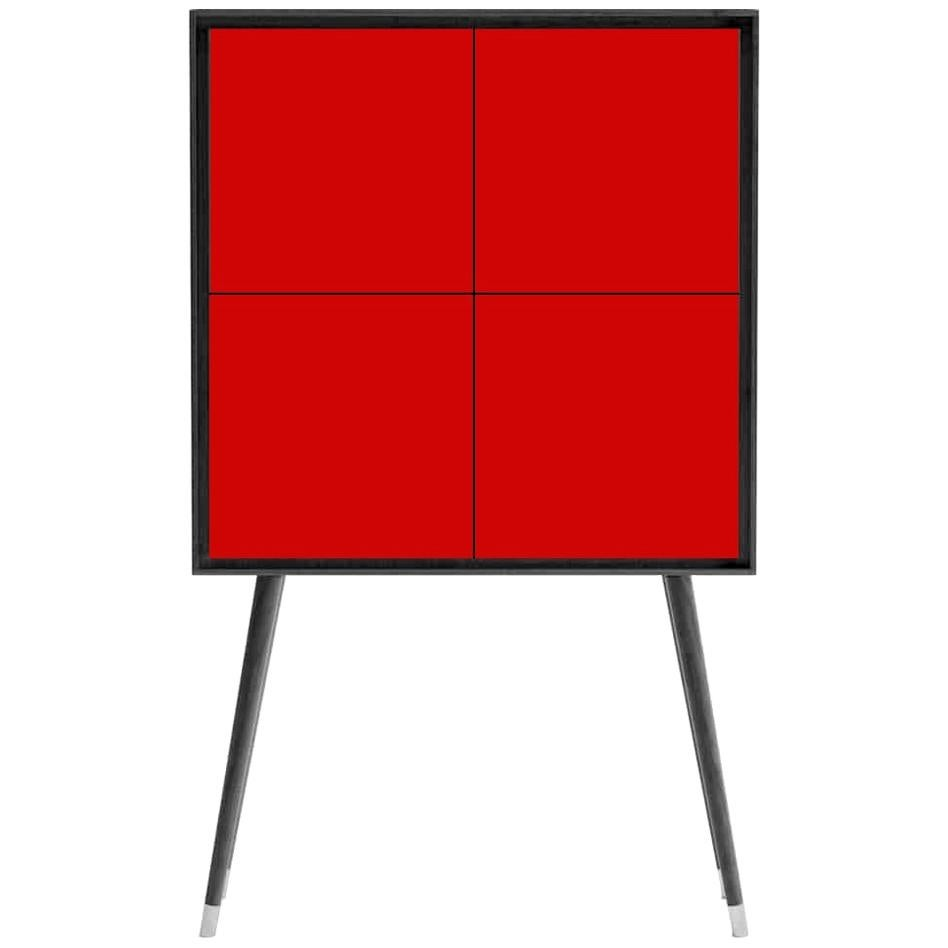 Eucalyptus Veneer Bar / Cabinet with Red Lacquer Doors