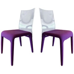 Altuglass Dining Chairs in Purple Wool by Roche Bobois, Set of Six